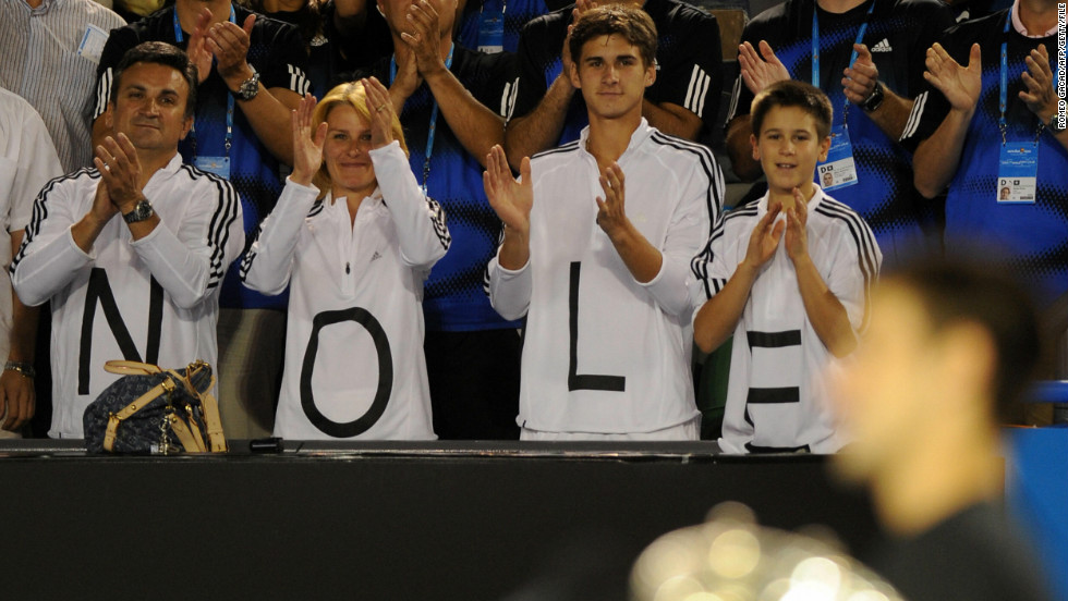 Djokovic won his first Australian Open title back in 2008 watched by his biggest supporters, father Srdjan (far left), mother, Dijana and his two younger brothers, Marko (second from right) and Djordje.