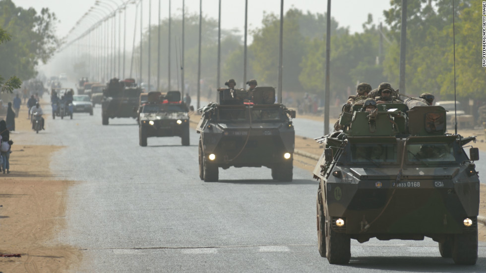A French army convoy travels near Segou, in south-central Mali, is on its way to Diabaly on January 24.