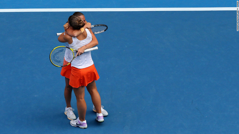 Sara Errani and Roberta Vinci of Italy celebrate winning their final doubles match against Ashleigh Barty and Casey Dellacqua of Australia on January 25.