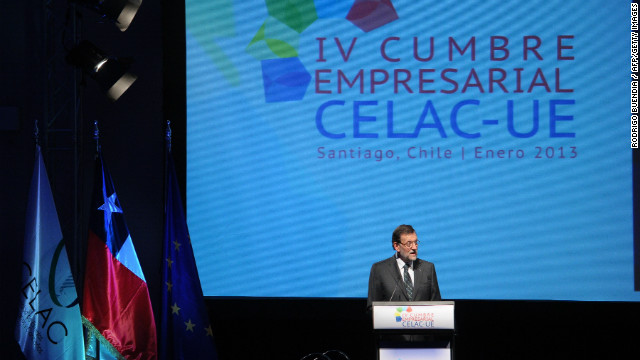 Spanish Prime Minister Mariano Rajoy delivers a speech during the opening of the IV Business Meeting in the framework of the weekend's two-day CELAC-EU Summit in Santiago, during his official visit to Chile on January 25, 2013.