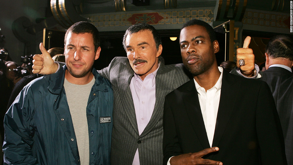 "Adam Sandler, Reynolds and Chris Rock pose at the premiere of Paramount Pictures' remake of  ""The Longest Yard"" on May 19, 2005, in Los Angeles, California."