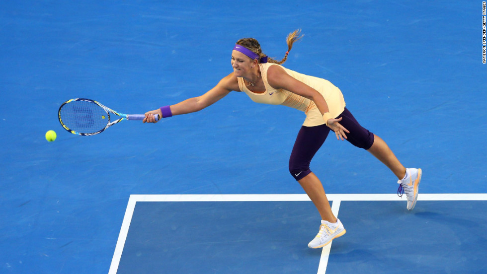 Benlarus Azarenka reaches for a forehand during Saturday's final.