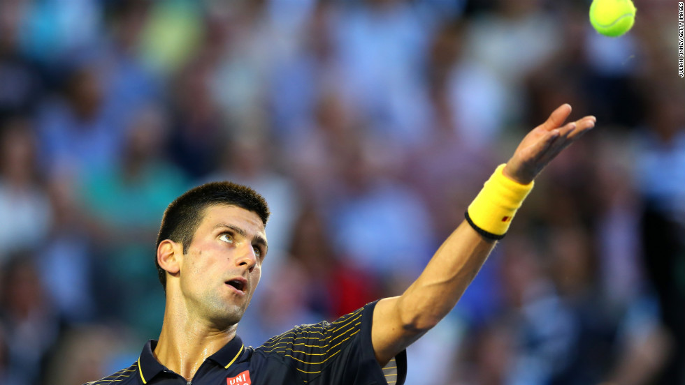 Djokovic serves to Murray at Melbourne Park on January 27.