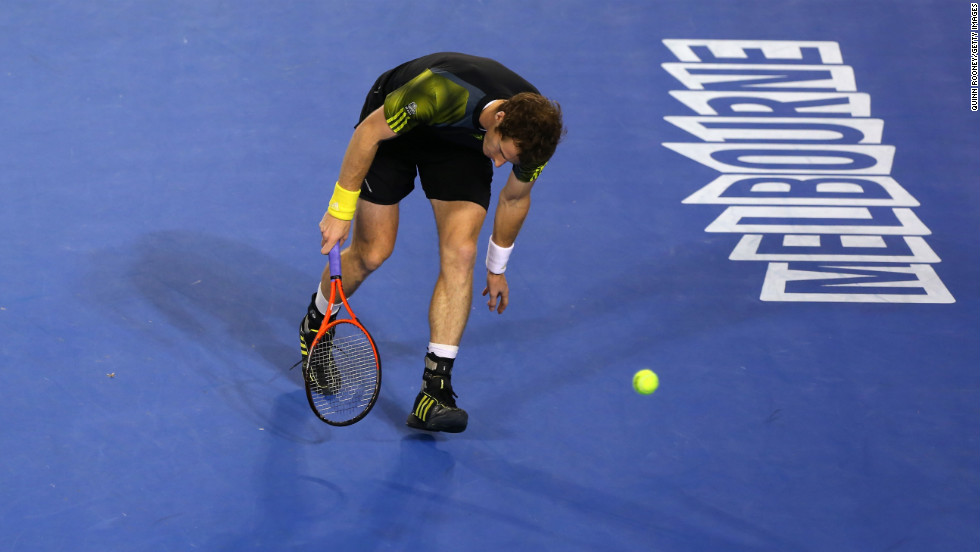 Murray reacts to a point on January 27.