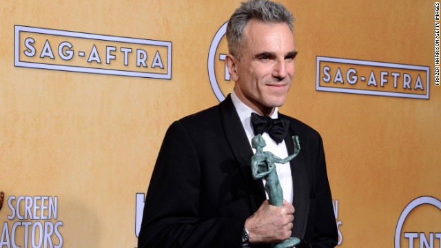 Actor Daniel Day-Lewis, winner of Outstanding Performance by a Male Actor in a Leading Role for 'Lincoln,' poses in the press room during the 19th Annual Screen Actors Guild Awards held at The Shrine Auditorium on January 27, 2013 in Los Angeles, California.