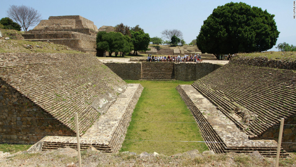 Near Oaxaca stand the ruins of Monte Alban, a Zapotec civilization. Ball courts like this one are a common feature of pre-Hispanic meso-American cities, where a game with ritual significance was played.