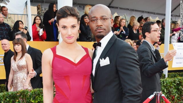 Taye Diggs and Idina Menzel arrive at the Screen Actors Guild Awards held Sunday at The Shrine Auditorium in Los Angeles.