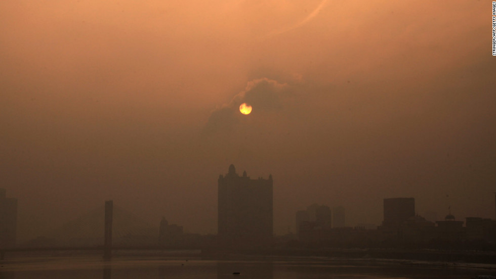 Heavy smog reduces visibility in Jilin, China, northeast of Beijing, on Wednesday, January 30.