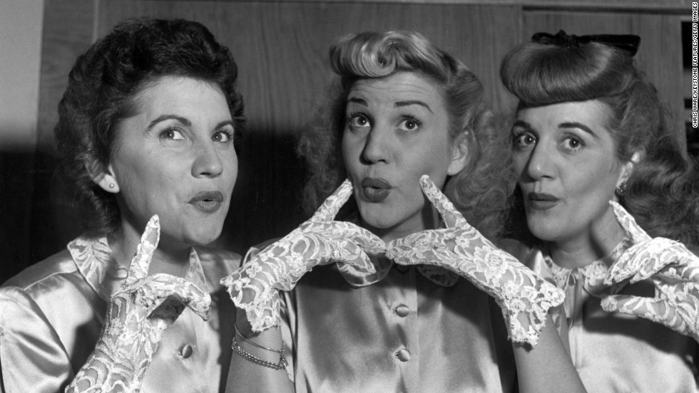 "<a href=""http://www.cnn.com/2013/01/30/showbiz/patty-andrews-obit/index.html"">Patty Andrews</a>, center, the last surviving member of the Andrews Sisters, died at her Northridge, California, home on January 30, her publicist Alan Eichler said. She was 94. Patty is seen in this 1948 photograph with her sisters Maxene, left, and Laverne."