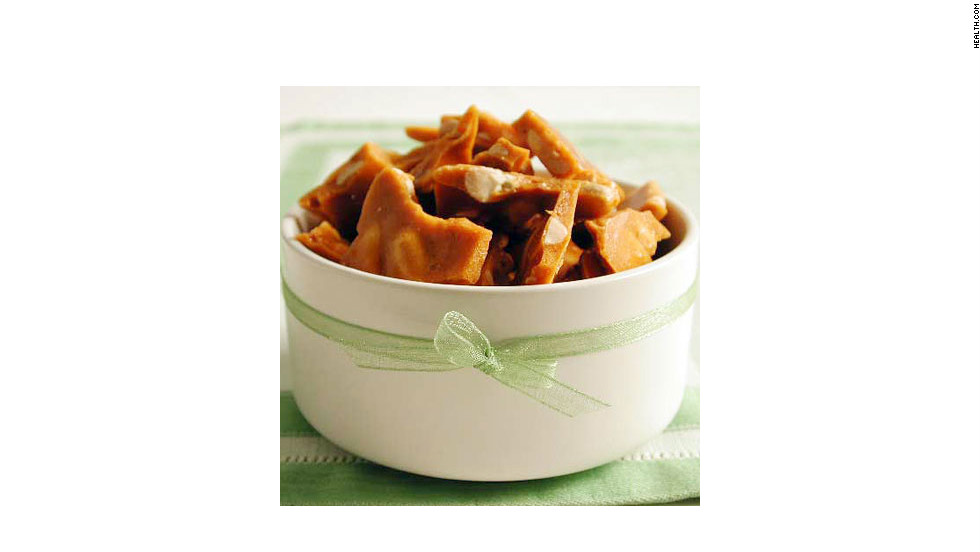 "Pepper adds an unexpected bit of heat to this brittle, but you can omit it for a more traditional version. One serving is 105 calories. <strong>Try this recipe:</strong> <a href=""http://www.myrecipes.com/recipe/peppered-peanut-brittle-10000000522336/"" target=""_blank"">Peppered peanut brittle</a>"