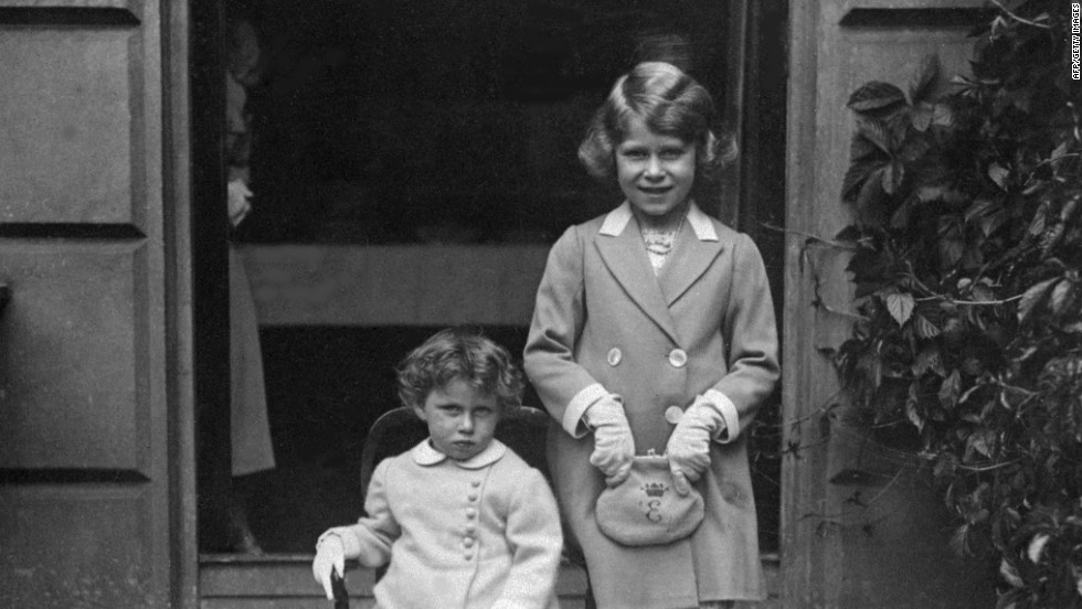 Future queen Princess Elizabeth, right, poses with her sister Princess Margaret in 1933.