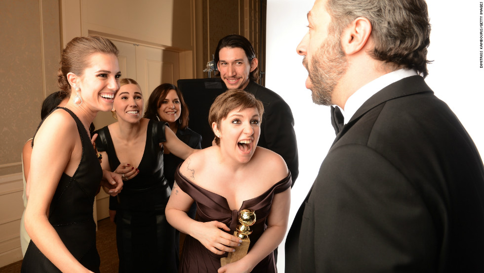 "<a href=""http://www.imdb.com/name/nm2501633/"" target=""_blank"">Lena Dunham</a> won two <a href=""http://www.goldenglobes.org/"" target=""_blank"">Golden Globes</a> for her comedy series ""<a href=""http://www.imdb.com/title/tt1723816/"" target=""_blank"">Girls</a>"" in January 2013. She is the writer and executive producer of the show, for which she also plays the lead role."