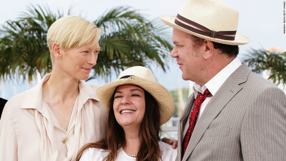 """Director <a href=""""http://www.imdb.com/name/nm0708903/"""" target=""""_blank"""">Lynne Ramsay</a>, center, with actors Tilda Swinton and John C. Reilly at the screening of their film """"<a href=""""http://www.imdb.com/title/tt1242460/"""" target=""""_blank"""">We Need to Talk About Kevin</a>"""" at Cannes Film Festival 2011. The film picked up various awards including best film at the <a href=""""http://www.bfi.org.uk/lff"""" target=""""_blank"""">London Film Festival</a>."""