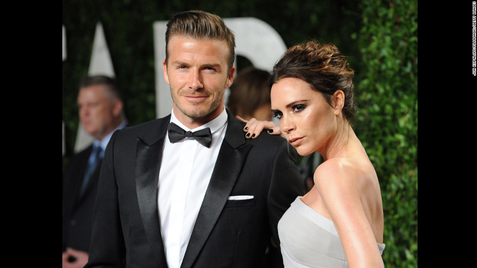 The Beckhams attend the Vanity Fair Oscar Party in West Hollywood, California, in 2012.