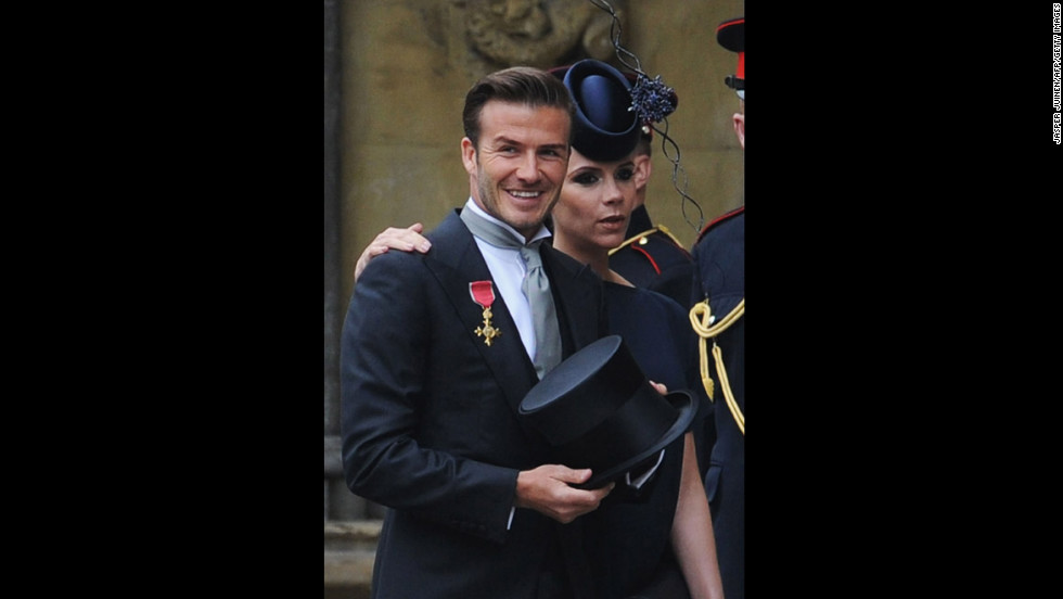 David and his wife, Victoria, arrive at the wedding of Prince William and Kate Middleton at Westminster Abbey in 2011.