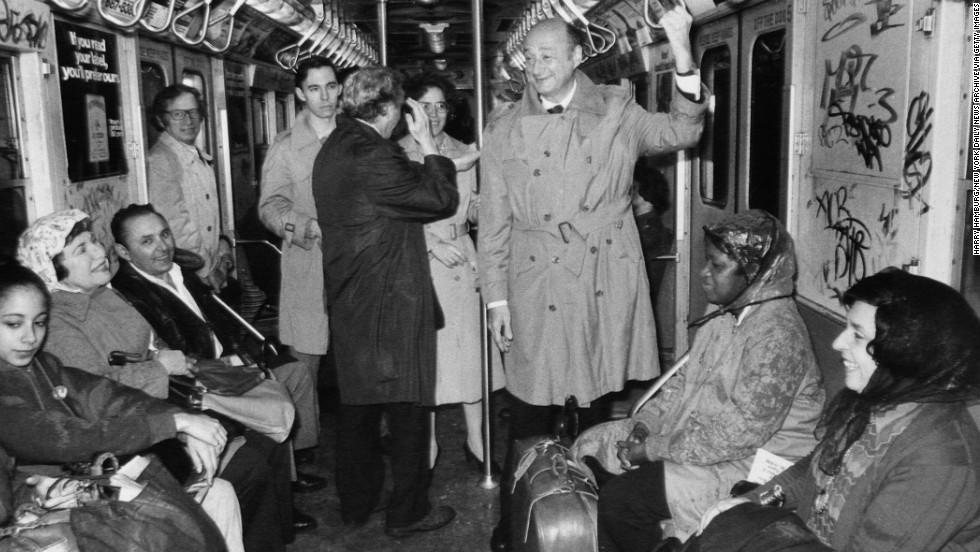 Koch, a three-term mayor of New York, rides the subway in January 1978.