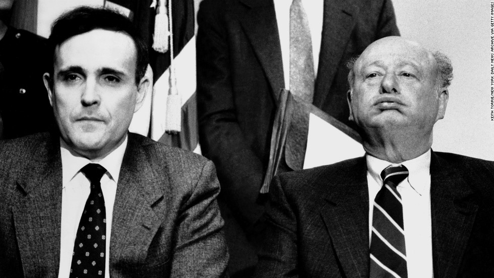 Rudy Giuliani, then U.S. attorney for the Southern District of New York, and Koch meet the press in January 1989.