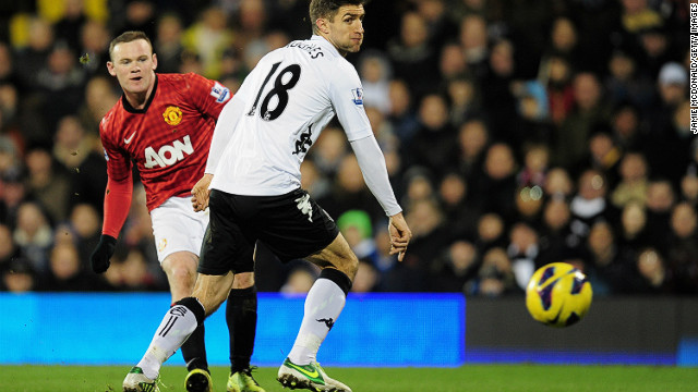 Wayne Rooney scores Manchester United's winner against Fulham  at Craven Cottage on Saturday.