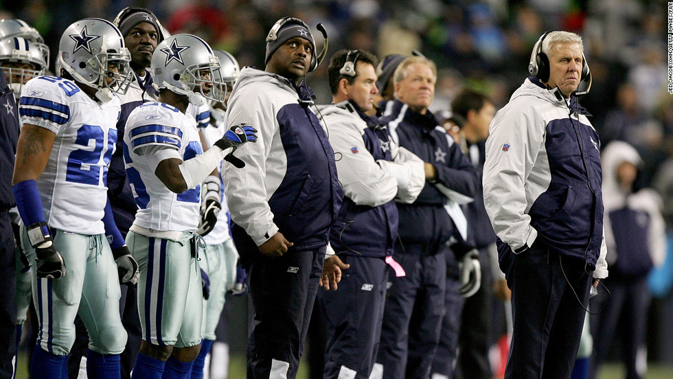 Head coach Bill Parcells of the Dallas Cowboys watches his team from the sidelines in the second half of the NFC Wild Card Playoff Game against the Seattle Seahawks in 2007. Parcells is the only coach among this year's Hall of Fame class.