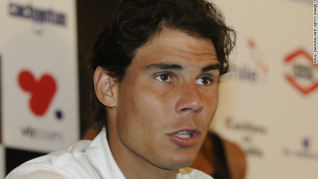 Spanish tennis star Rafael Nadal speaks during a press conference in Vina del Mar, where he will play for the first time.