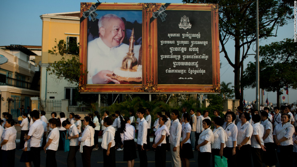 Thousands of Cambodians queue to enter the crematorium area on Monday. Cambodia will hold an elaborate cremation ceremony, part of a week-long funeral for the late royal. Sihanouk, who abdicated in 2004 after leading Cambodia for six decades, died on October 15 and his body has been lying in state at the Royal Palace.