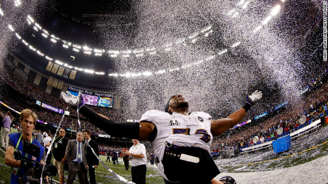 Ray Lewis of the Baltimore Ravens celebrates after defeating the San Francisco 49ers during Super Bowl XLVII. The Ravens defeated the 49ers, 34-31.