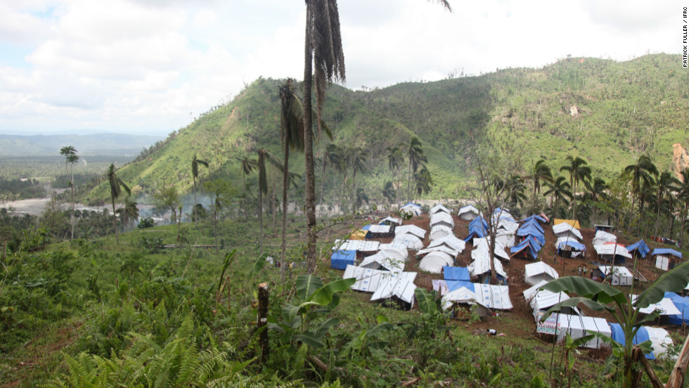 Typhoon Bopha damaged 216,000 homes as it tore through Mindanao in the Philippines in December.  Ninety families live in this tent city.