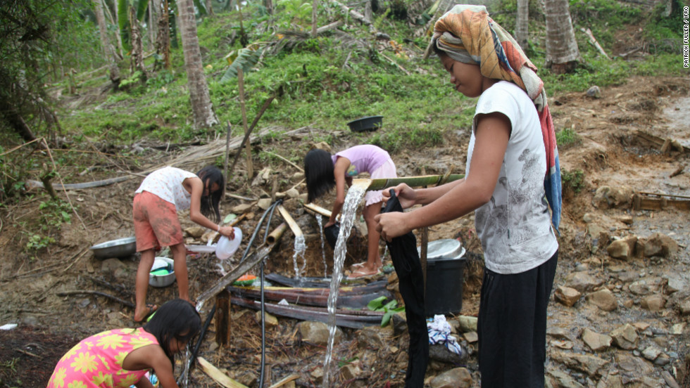 The site lacks electricity, running water and sanitation and local residents must collect water from a spring in the hillside.