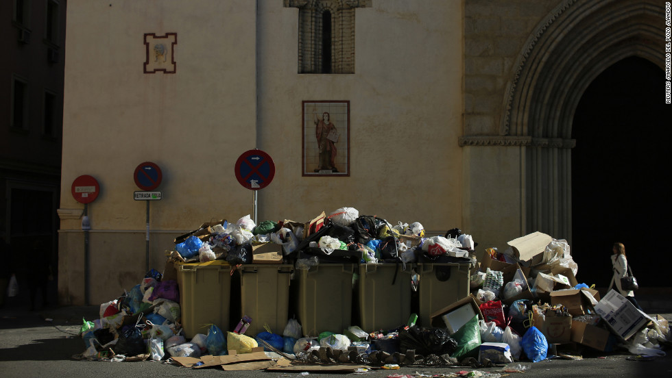 Trash piles up on February 5.