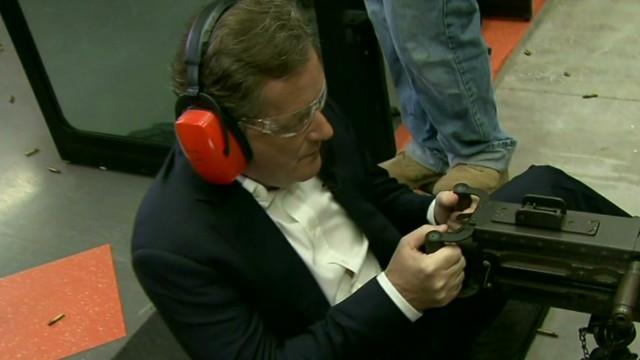 Watch Piers fire a machine gun
