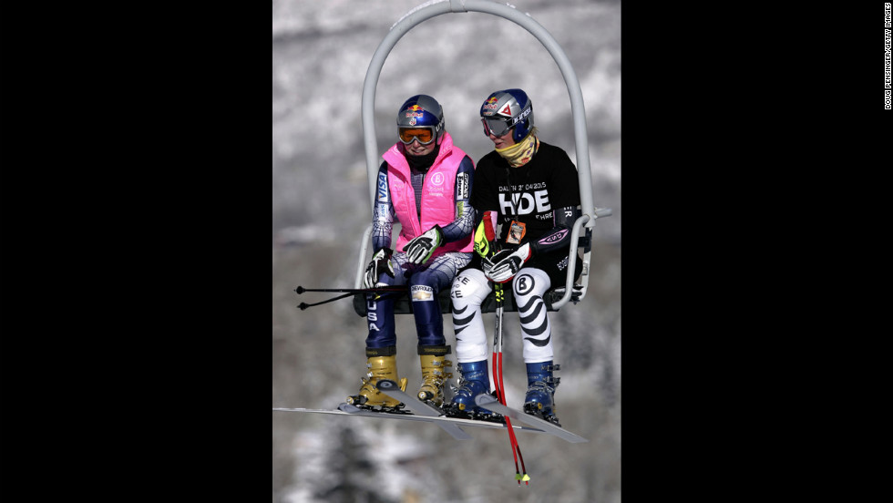 Kildow rides the lift with Maria Riesch of Germany during training for the FIS Alpine Skiing Women's World Cup Race on December 8, 2005, in Aspen, Colorado.