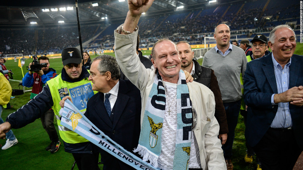 Paul Gascoigne was feted by Lazio fans when he returned to the Italian club for a fixture against another former club Tottenham last year.