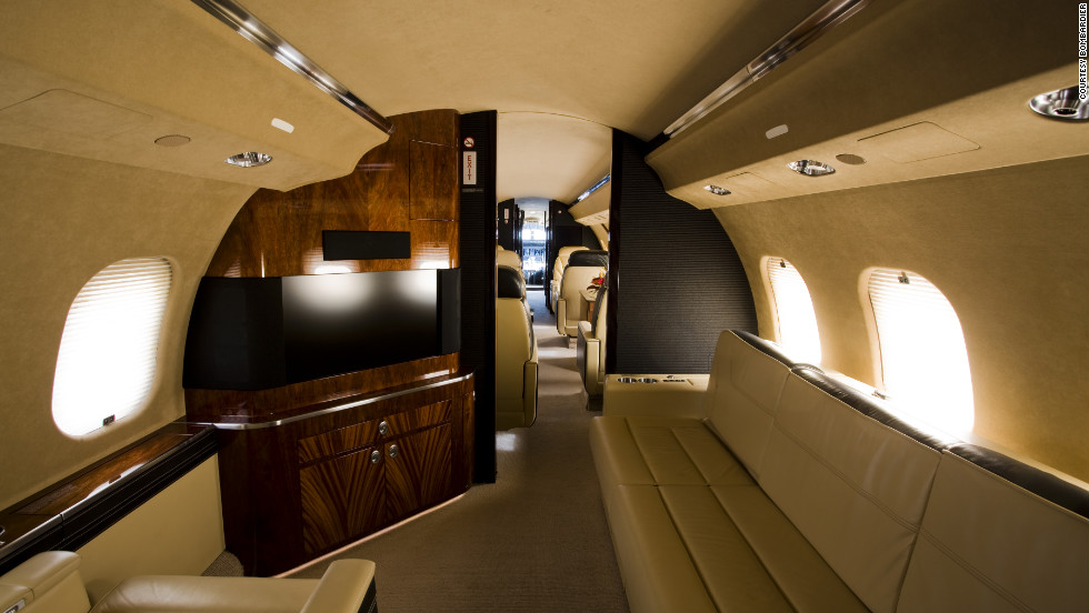 The Global 6000 cabin includes a galley, lavatory and a state room. Cabin height: 6.25.feet. Cabin length: 48.35 feet. Source: Bombardier.