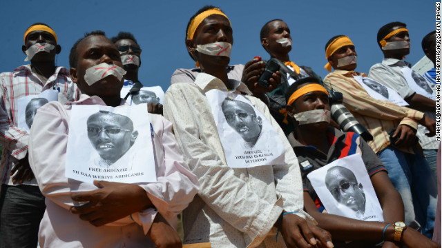 Somali journalists protest against the arrest of  Abdiaziz Abdinor Ibrahim, January, 27, 2013, Mogadishu.