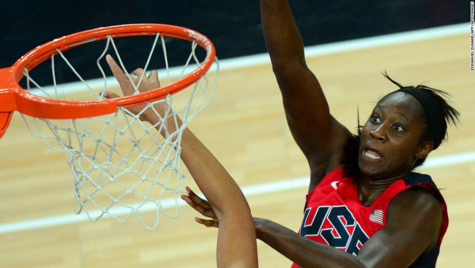 Center Tina Charles takes a shot during the London 2012 Olympic Games women's semifinal game against Australia. The U.S. won 86-73.