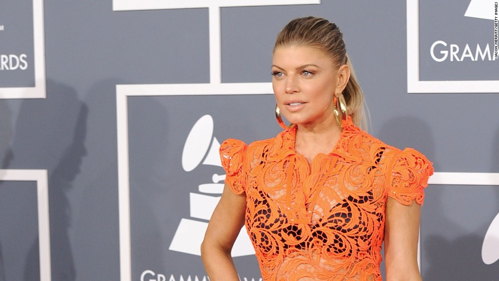 In 2012, Fergie wore this sheer orange gown by Jean Paul Gaultier.