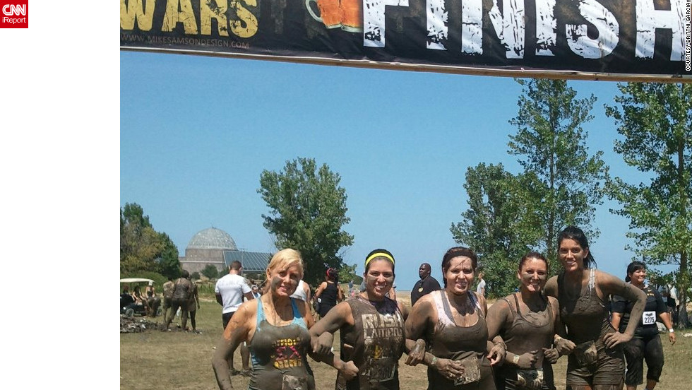 "Garcia and her sorority sisters recently completed a 5K obstacle course in Chicago. ""It was so fun,"" Garcia says. ""I love that my friends finally embrace my weight loss and my new love for outdoor activities."""