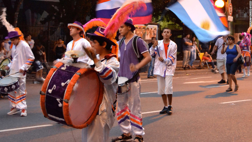 Drummers play during a murga in the San Telmo neighborhood of Buenos Aires, Argentina. Murga in Argentina is a lively form of street theater.