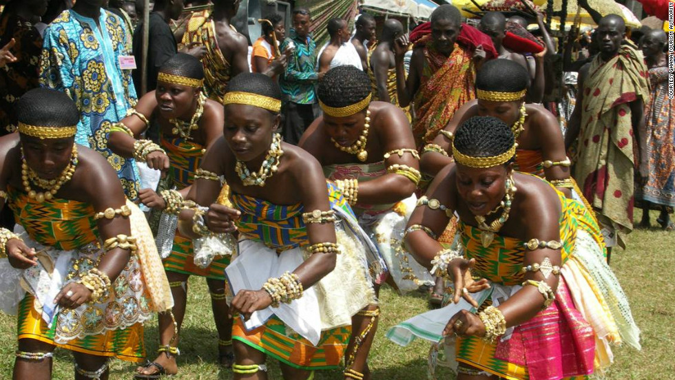 Women performing the Adowa, a traditional dance of the Ashanti people from Kumasi, Ghana's second largest city.