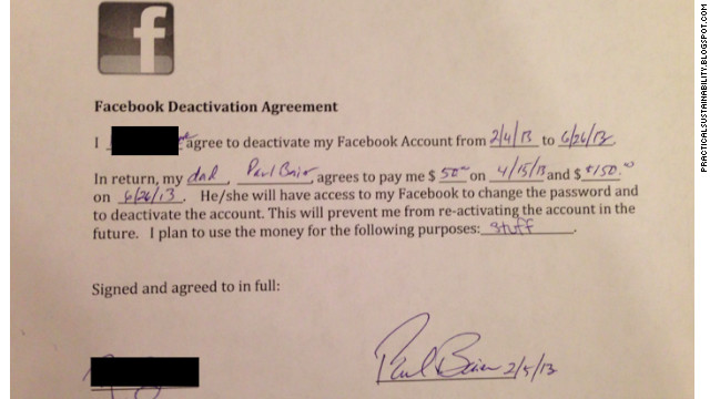 Here's the agreement between Paul Baier and his 14-year-old daughter, who he's paying $200 to quit Facebook for five months.