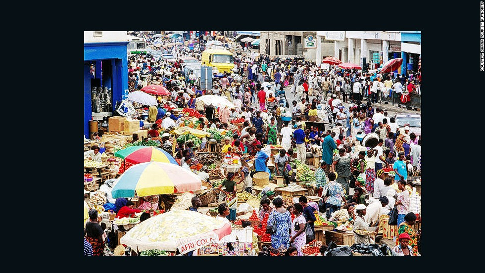 Traders ply their wares at Makola Market, Accra's main market and shopping district.