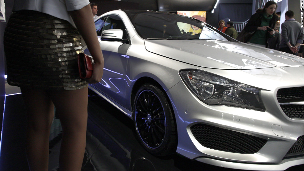 A new Mercedes-Benz is on display February 7. The luxury car company sponsors New York Fashion Week.