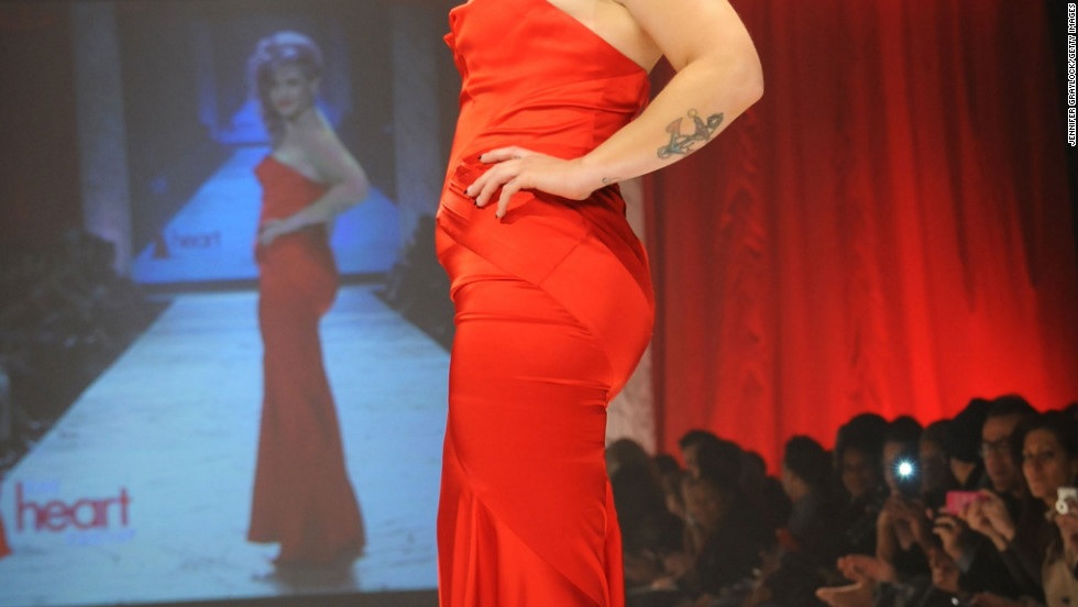 Kelly Osbourne wears red during The Heart Truth fashion show in New York City.
