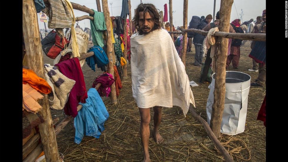 A Sadhu makes his way toward the banks of Sangam on January 15.