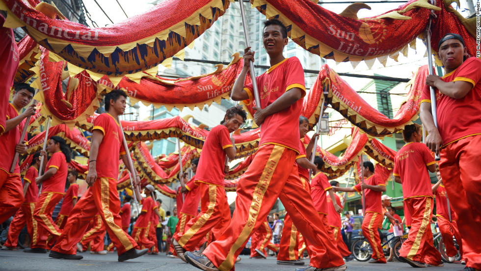 A dragon dance is part of the traditional Chinese New Year celebration in Manila on February 8.