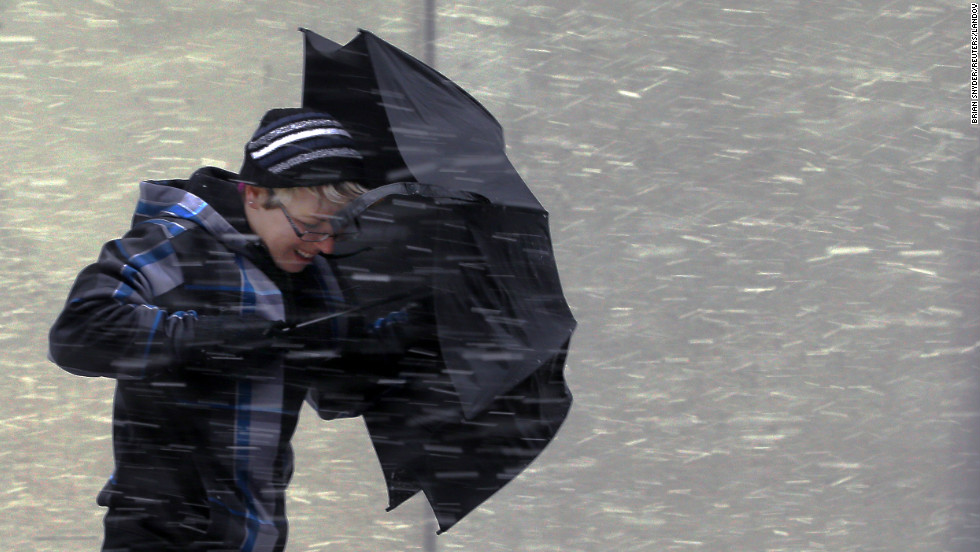 "This umbrella doesn't stand a chance in the wind-driven snow Friday in Boston as a potentially <a href=""http://www.cnn.com/2013/02/08/us/northeast-blizzard/index.html"">historic winter storm closes in on the Northeast</a>, especially New England."