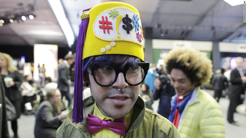 A visitor attends Fashion Week at New York's Lincoln Center on February 8.