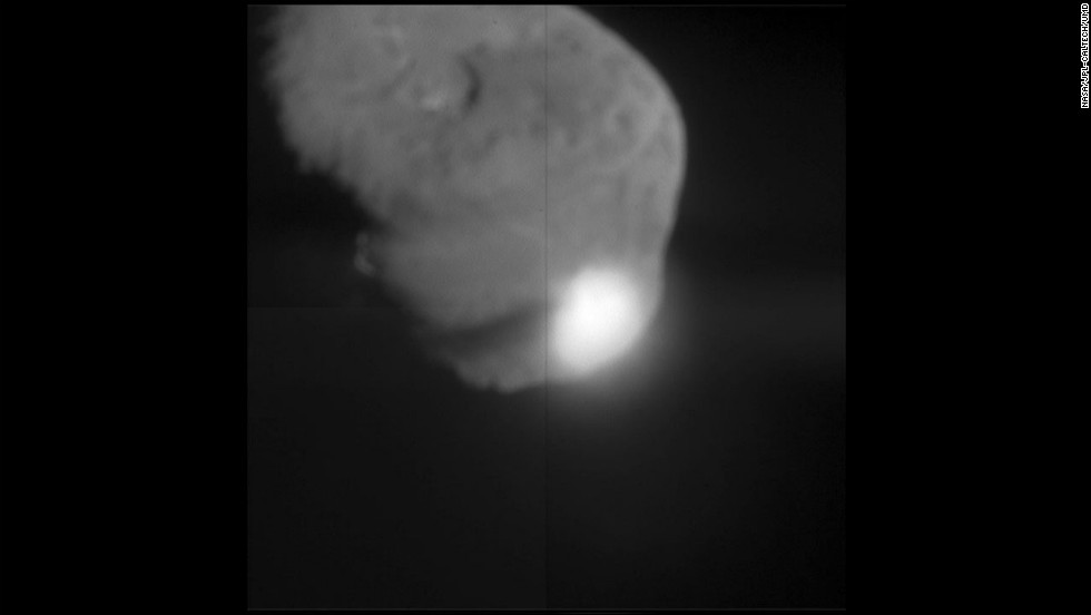 "On July 3, 2005, NASA's Deep Impact fly-by spacecraft dropped its ""impactor"" probe into the path of Comet Tempel 1. There was a bright flash as the probe hit the comet. The images were beamed around the world in near real time on NASA TV and over the Internet. Orbiting telescopes watched from space and astronomers on the ground captured images, too."
