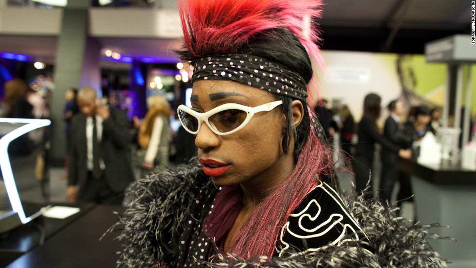 A visitor attends Fashion Week on February 8.