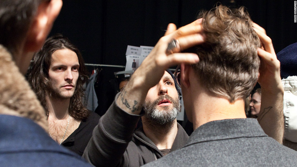 Models are prepped backstage at the Nautica show February 8.